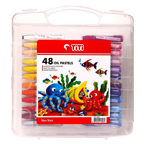 TiTi 48-Color Plastic Case Oil Pastels