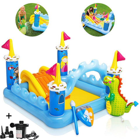 Fantasy Castle Water Play Center Pool with Free Pump - Multicolor