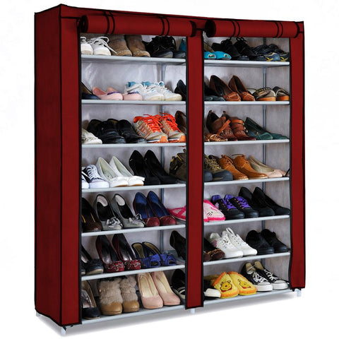 Interior Designed Folding and Covered Double Shoe Rack - Red Wine
