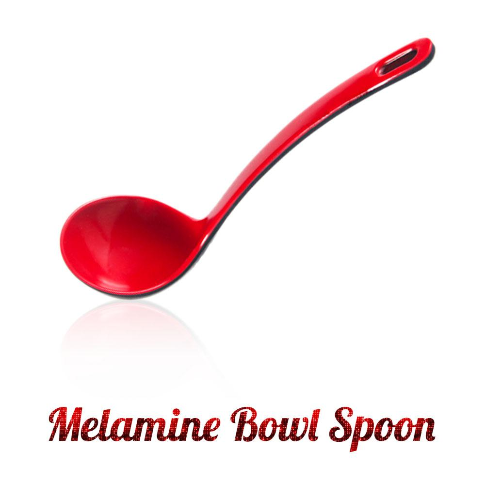 Melamine Large Red and Black Bowl Spoon - Red & Black