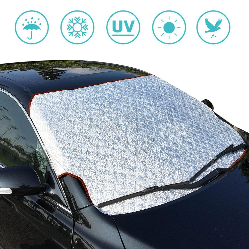 Premium External Windshield Sun Blocker Screen with Hooks -  Silver