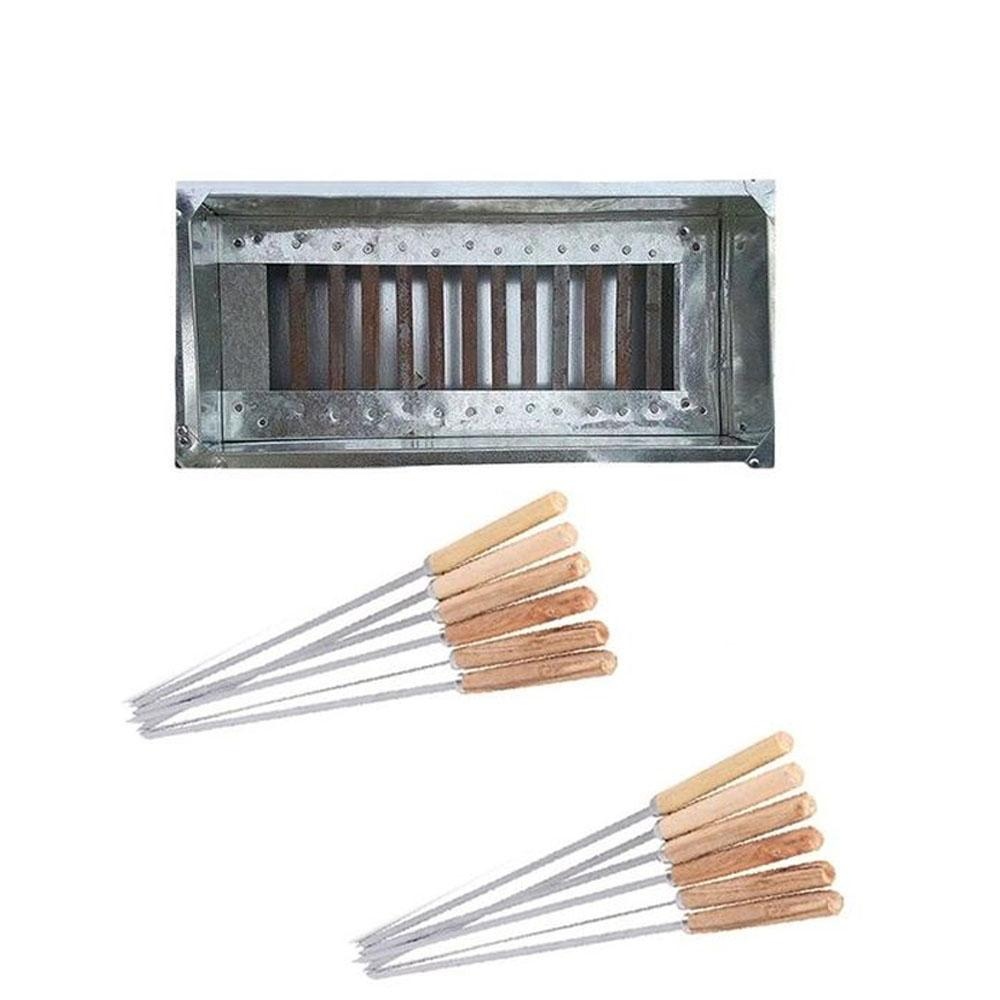 BBQ Grill With 12 Skewers - Silver
