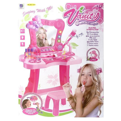 Plastic Vanity Table with LIghted Mirror Makeup Set Toy