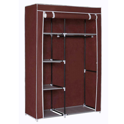 Storage Cabinet and Clothing Fabric Wardrobe with Hanging Section for Home and Office - Brown & Maroon