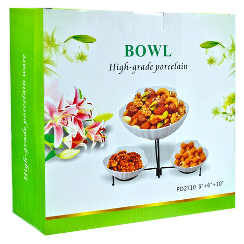High Grade Porcelain Food Serving Bowl Set with Iron Stand