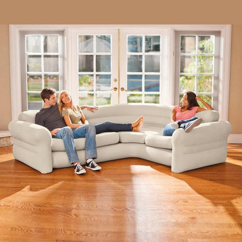 Corner Living Room Sectional Sofa - 5 Seater - Beige
