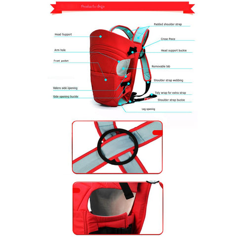 2-in-1 Baby carrying Bag - Red