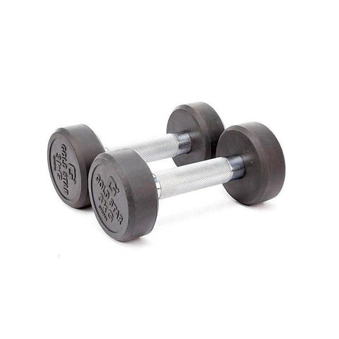 Pair of 3 Kg rubber coated dumbbells - Black & Silver