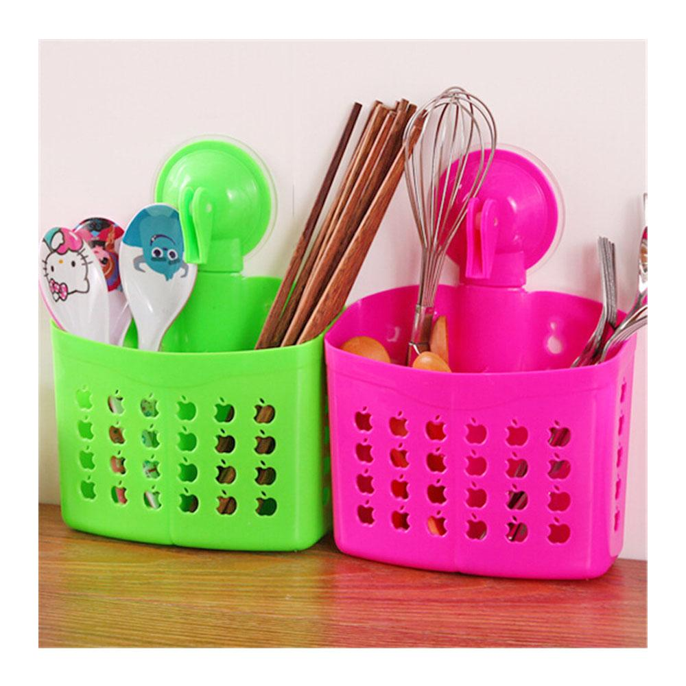 Pack of 2 Wall Baskets with Suckers for Kitchen & Bath Room - Multi Colour