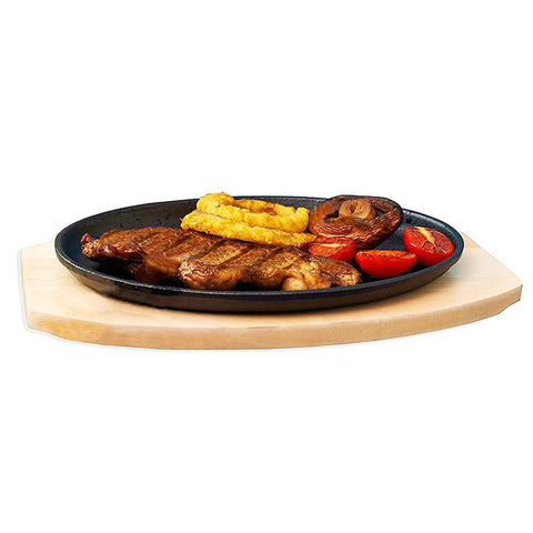 Steak Sizzle Cast Iron Sizzling Platter with Wooden Base
