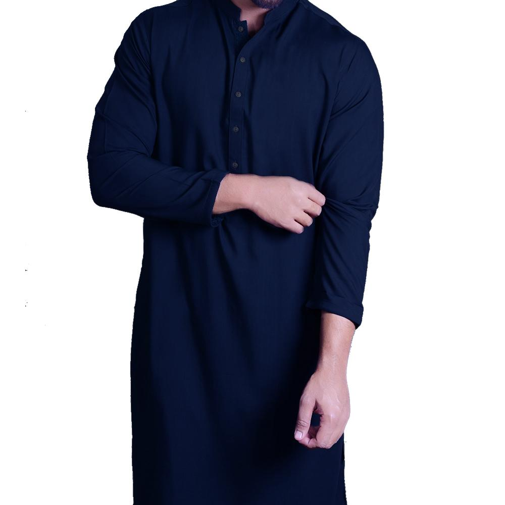 Unstiched Wash & Wear Gents Fabric- Navy Blue - Kurta Only - 2.25m
