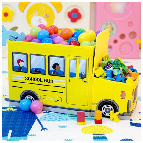 School Bus Toy Storage Box with Sitting Hood - Yellow