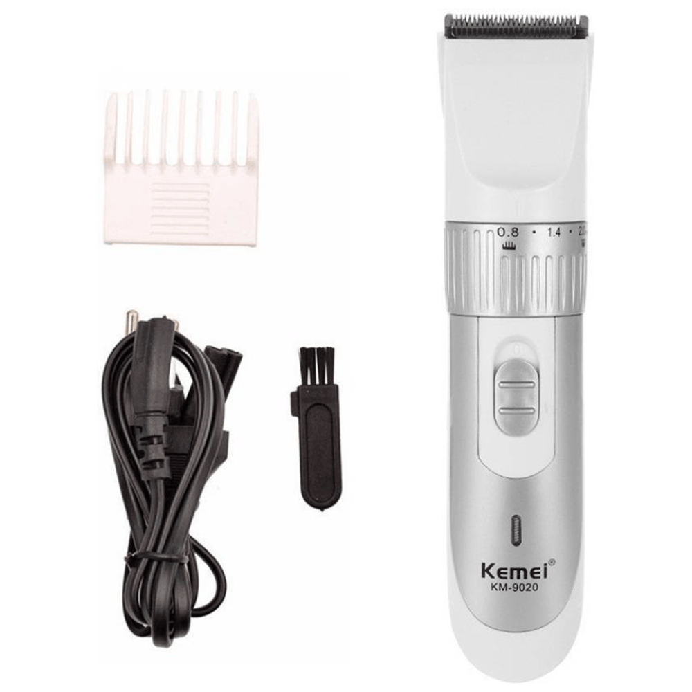 Kemei Rechargeable Electric Hair Trimmer - Silver- KM 9020