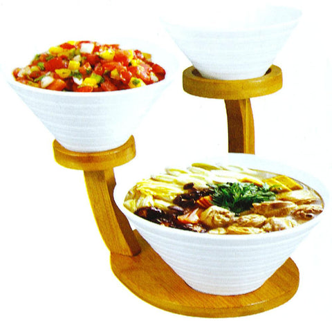 3 Tiers Porcelain Bowls with Bamboo Stands