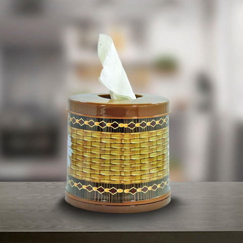 Tissue Roll Floral Box - Brown