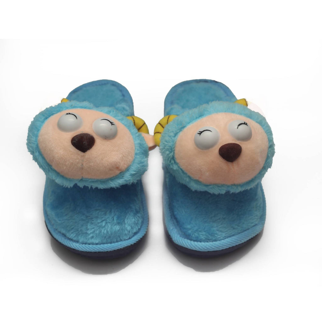 Blueish Cat Kids Warm Woolen Slippers