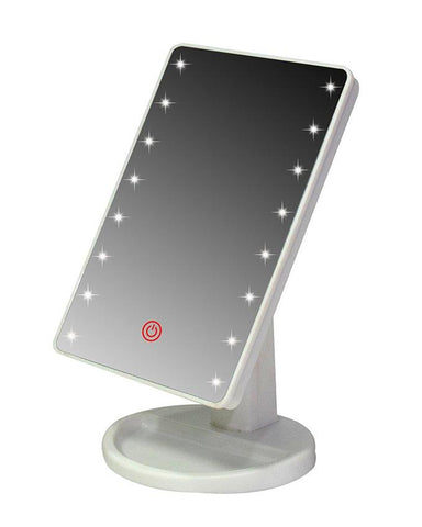 LED Woman Makeup Mirror Touch Screen - White