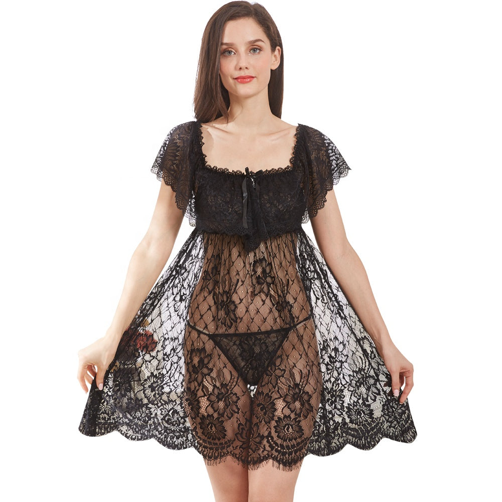 Luxury See Through Girls Sleepwear Mature Women Lace Nightgowns Sexy Hot  Transparent Costumes Erotic Linger-