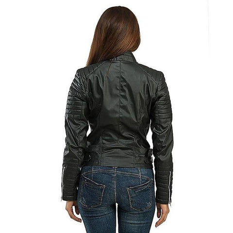 Women Slim Fit PU Black Leather Jacket MB-127