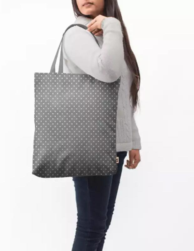 Dark Gray Swiss Dots Baesic Tote Bag
