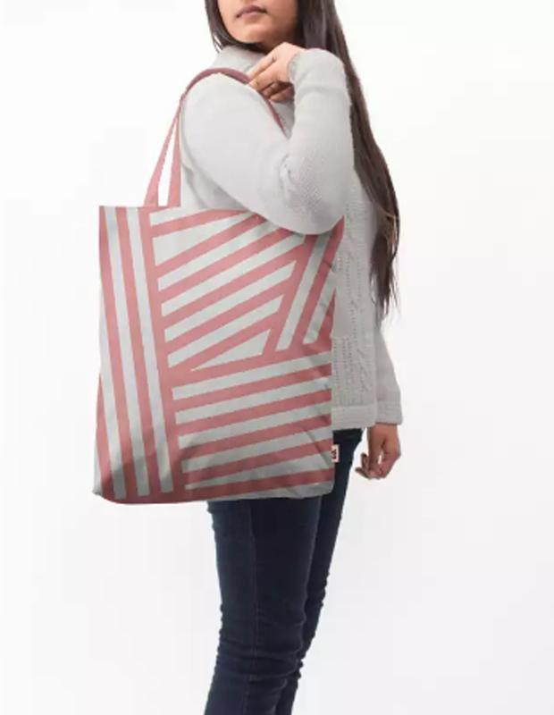 Rose Stripes Baesic Tote Bag