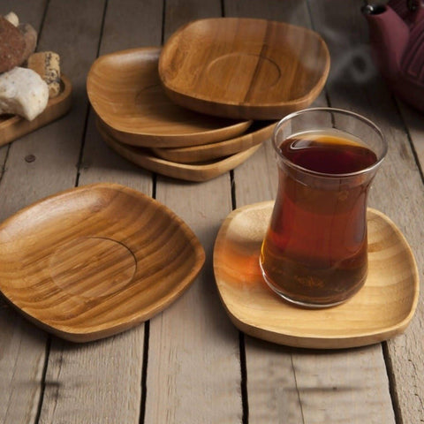 Set of 6 High Quality Antibacterial bamboo Saucers for Coffee & Tea, Bambum Silva Wood Brown - 2454