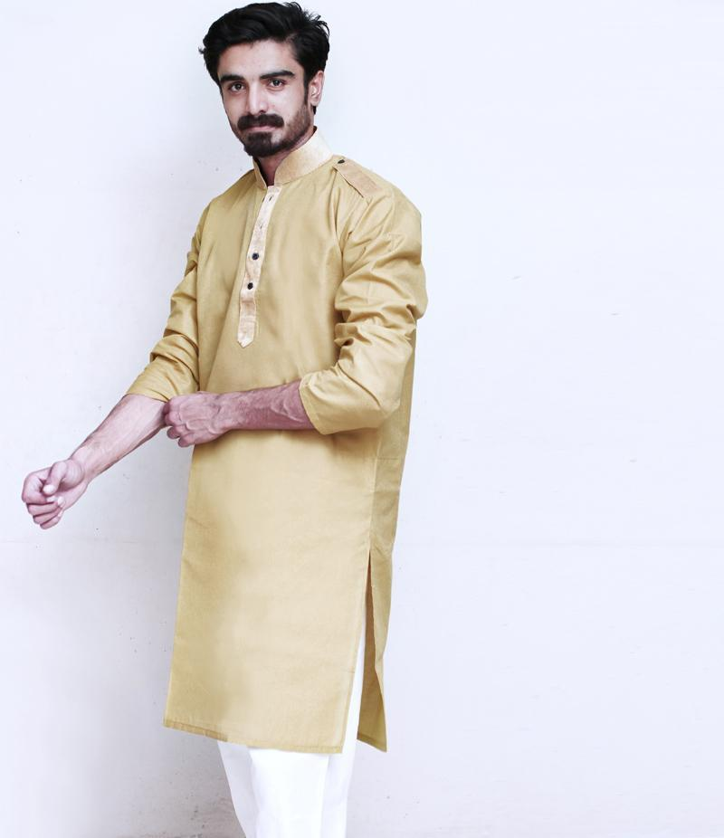 The Ajmery - Men's Mehndi Cotry Collar Cotton Kurta. TAK-M-091