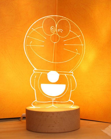 Doraemon Shape 3D Acrylic Lamp With Wooden Base - Golden