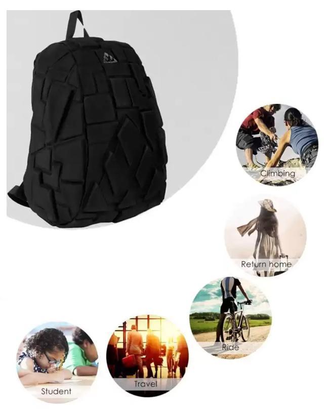 Hard Shell waterproof Backpack Inbuilt Aux Cable Headphone Jack - Black