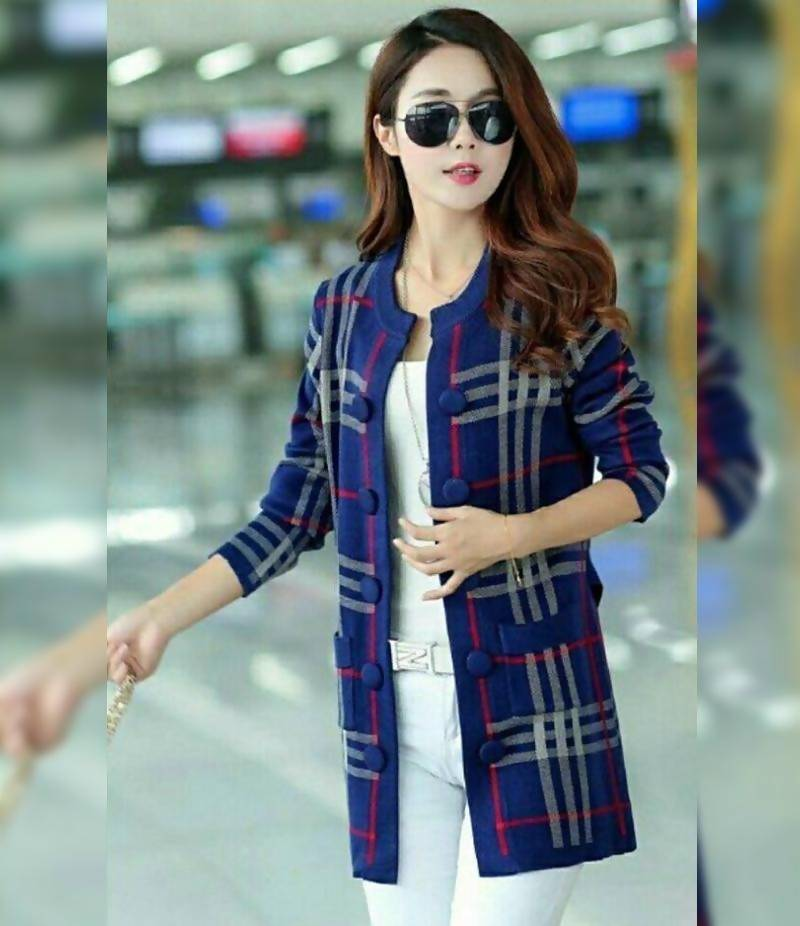 Women's Navy Button Down Fleece Checkered Jacket. NVY-CJ