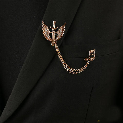 wing and music men brooch lapel pin coat pin for men and women
