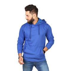 Blue Plain Kangroo Hoodie for Men