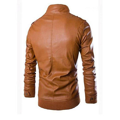 Men's Slim Fit PU Leather Jacket Tan MB-108