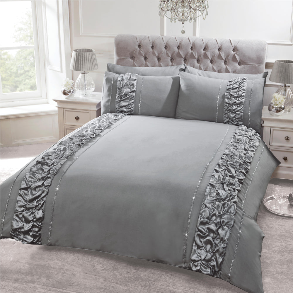 Elegant 8 PCS Smokey Polycotton Embllished Fancy Quilt Cover Set