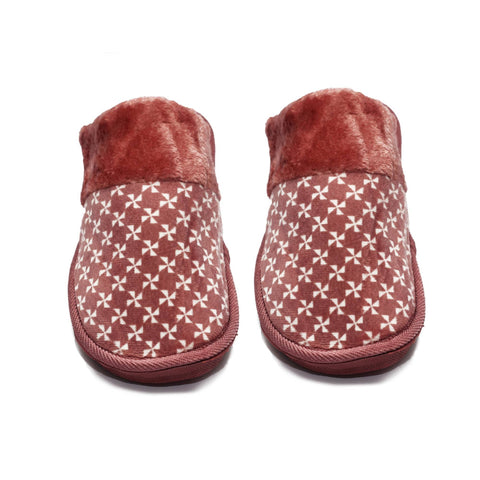 Star Mehroon Warm Woolen Slippers