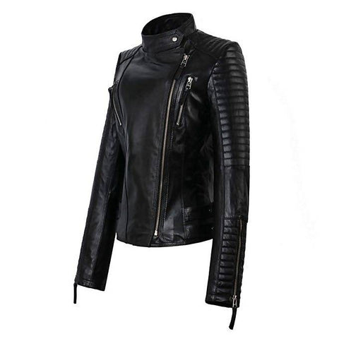 Women's Slim Fit PU Black Leather Jacket MB-101