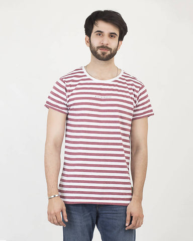 Crafted Mens Burgendy Stripe Tee