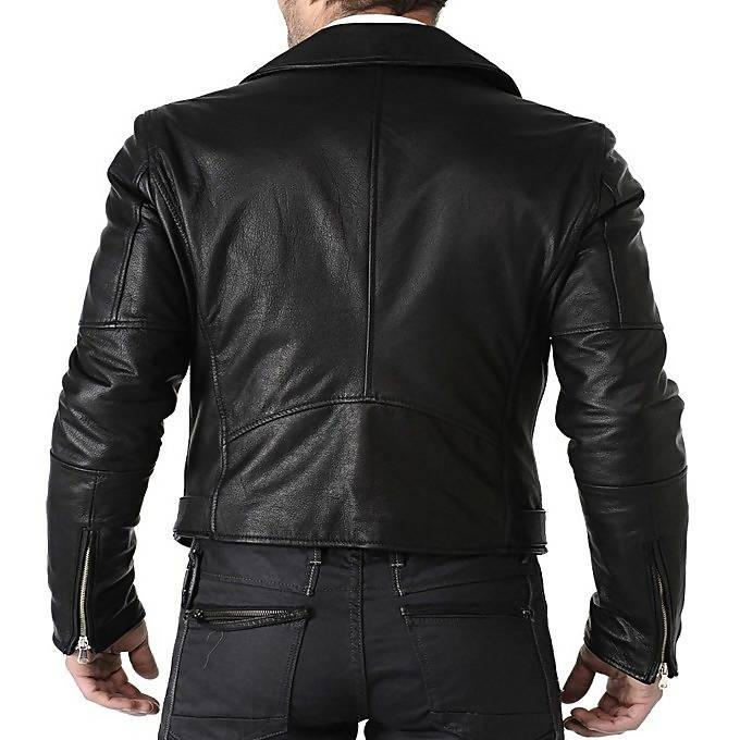 Moodish Men's Slim Fit Pu Biker Style Black Leather Jacket MB4