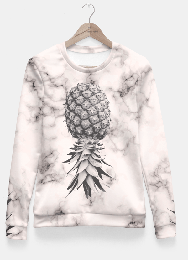 Marble Texture Seamless Pattern Pineapple 052 Fitted Waist Sweatshirts