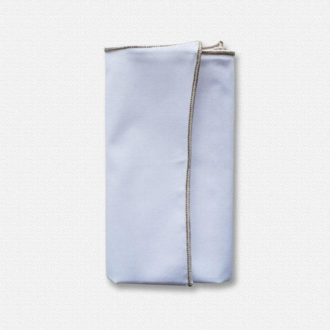 Silver Edged White Cotton Pocket Square