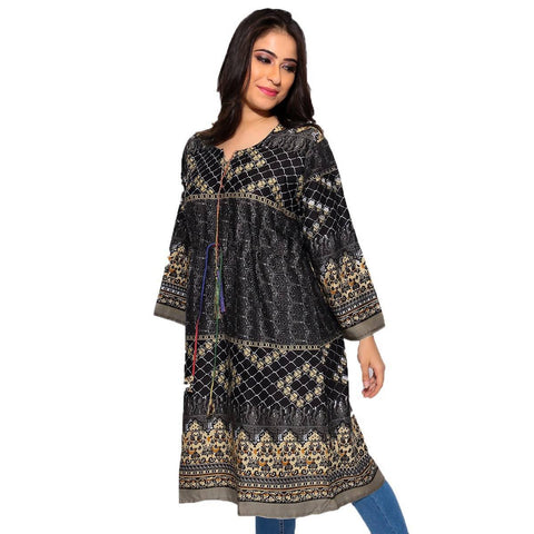 Black & Golden Digital Printed Kurti D-011
