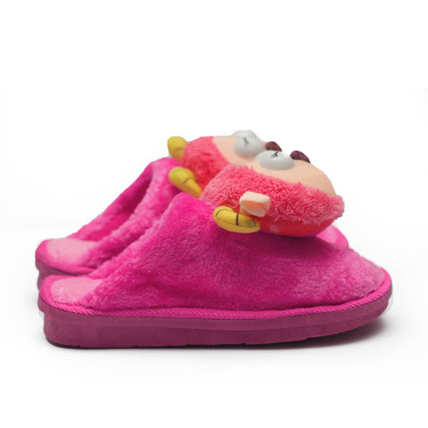 Cat Pink Redish Kids Warm Woolen Slippers