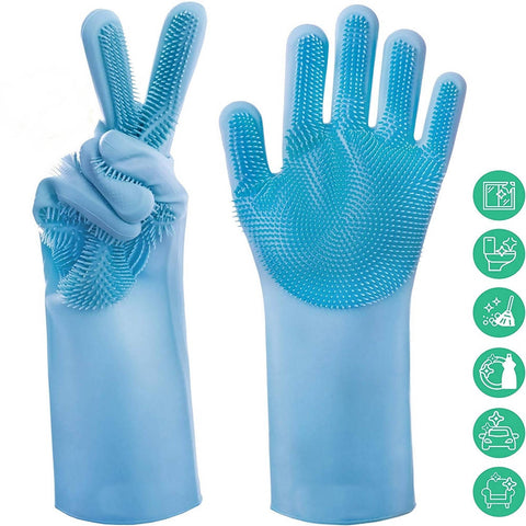 1 Pair Magic Silicone Rubber Dish Washing Gloves Scrubber Cleaning - Multicolor - 7092-A