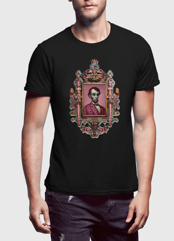 Virgin Teez Abraham Lincoln Portrait Half Sleeves T-shirt