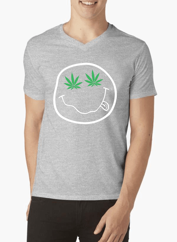 Virgin Teez Nirvana Smile V-Neck T-shirt