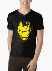 Virgin Teez IRON MAN MASK V-Neck T-shirt