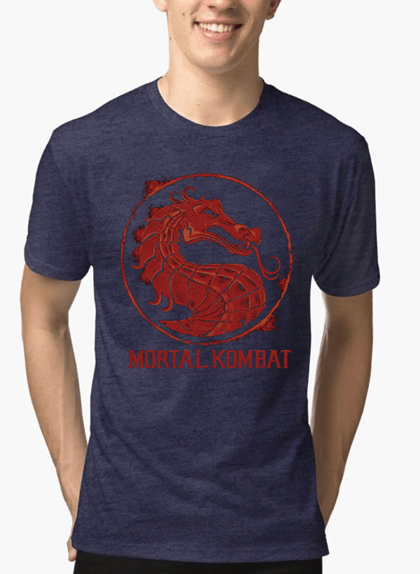 Virgin Teez Mortal Kombat Logo Half Sleeves Melange T-shirt