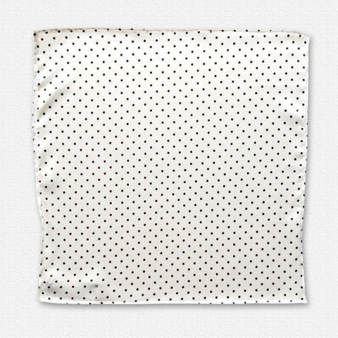 White with Black Polka Dot Silk Pocket Square
