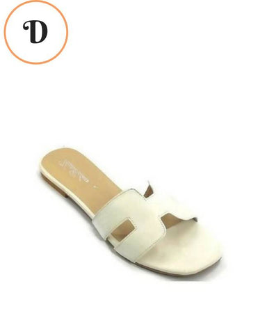 White H Design Flat Slides For Women