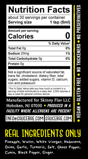 Sauce Bae Hotter Habanero Nutrition Label